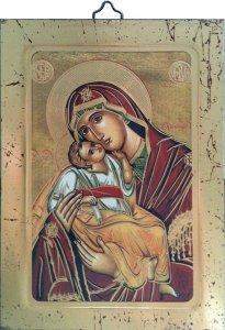 """Copertina di 'Icona bizantina """"Madonna con il Bambino"""" - dimensioni 14x10 cm'"""