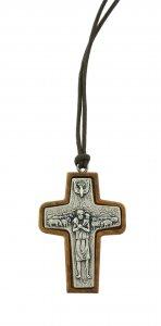 Copertina di 'Croce Papa Francesco  in metallo su legno ulivo cm 5 con laccio'