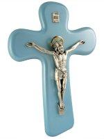 Croce con Cristo in metallo azzurra - altezza 22 cm