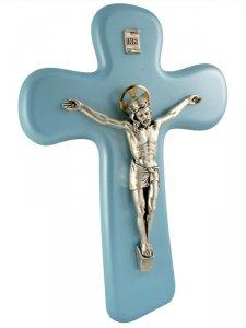 Copertina di 'Croce con Cristo in metallo azzurra - altezza 22 cm'