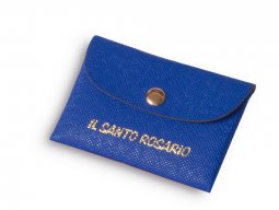 Copertina di 'Borsellino portarosario in ecopelle blu - dimensioni 7x11 cm'