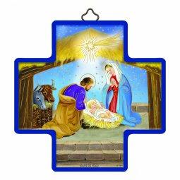 """Copertina di 'Croce in legno con lamina oro """"Natività"""" - dimensioni 12x12 cm'"""