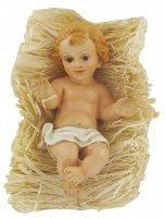 Gesù Bambino da circa 14 cm con simil-paglia per culla