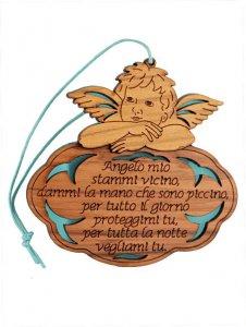 """Copertina di 'Angioletto in legno d'ulivo """"Angelo mio"""" su sfondo azzurro - dimensioni 8x8 cm'"""