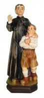 Statua di San Giovanni Bosco con bambino da 12 cm in confezione regalo con segnalibro