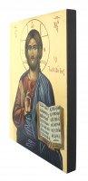Immagine di 'IconaCristo libro aperto dipinta a mano su legno con fondo orocm 19x26'
