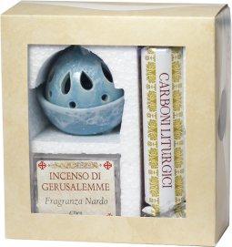 Copertina di 'Confezione brucia incenso azzurro alla fragranza di nardo con kit di carboni liturgici'