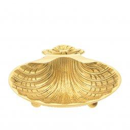 Copertina di 'Conchiglia per battesimo dorata con piedini - dimensioni 13x11 cm'