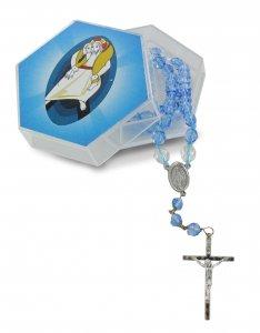 Copertina di 'Rosario collana semicristallo azzurro con scatolina giubileo'