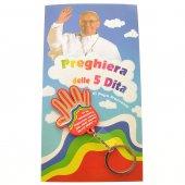 """Portachiavi con pagellina """"Preghiera della 5 dita"""""""