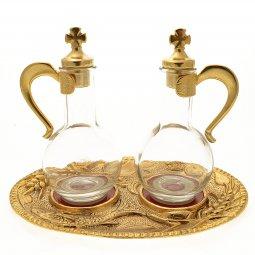 Copertina di 'Servizio ampolline in vetro con tappi, manici e vassoio in alpacca'