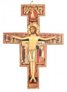 Copertina di 'Crocifisso San Damiano da parete stampa su legno - 8 x 6 cm'