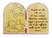 Dittico Angelo di Dio in ulivo con profilo rosa cm 7,5x5,5
