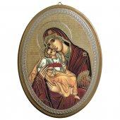 """Icona ovale laccata oro """"Madonna col Bambino"""" - dimensioni 21,5x16 cm"""