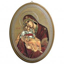 """Copertina di 'Icona ovale laccata oro """"Madonna col Bambino"""" - dimensioni 21,5x16 cm'"""