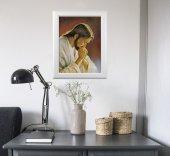 """Immagine di 'Quadro """"Cristo orante"""" di Parisi con lamina oro e cornice con decorazione a sbalzo'"""