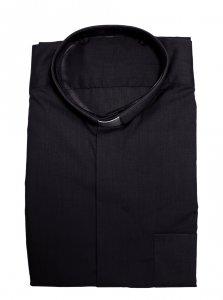 Copertina di 'Camicia clergyman nera manica lunga 100% cotone - collo 42'