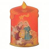 Magnete resinato a forma di candela con Natività - Linea bimbi