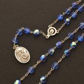 Immagine di 'Rosario San Michele Arcangelo blu in mezzo cristallo'