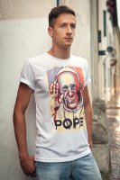 Immagine di 'T-shirt Papa Francesco blu e rossa - taglia XL - uomo'
