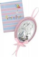 Sopraculla a forma ovale con lastra in argento 925 di color rosa - Madonna di Ferruzzi