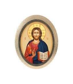 """Copertina di 'Icona ovale in polimero con cavalletto """"Cristo Pantocratore"""" - 25 x 20 cm'"""