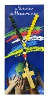 Rosario missionario con grani in legno da Ø 5 mm e legatura in seta