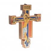 """Immagine di 'Croce icona in legno con foglia oro """"Christus Patiens"""" - dimensioni 21x25 cm'"""