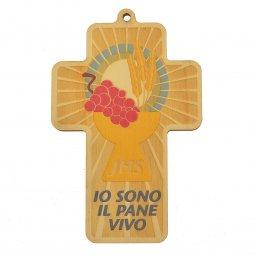 """Copertina di 'Croce in legno """"Io sono il pane vivo""""'"""