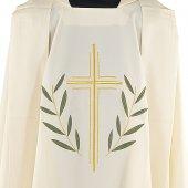 Immagine di 'Casula avorio con croce stilizzata e ramoscelli d'ulivo ricamati'