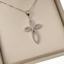Copertina di 'Collana con croce a fiore in strass e catenina in argento 925'