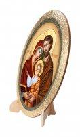 """Immagine di 'Icona ovale in polimero con cavalletto """"Sacra Famiglia"""" - 25 x 20 cm'"""