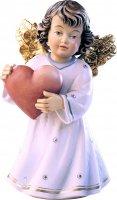 Statuina dell'angioletto con cuore, linea da 10 cm, in legno dipinto a mano, collezione Angeli Sissi - Demetz Deur