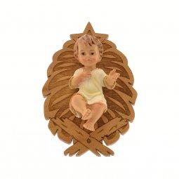 Copertina di 'Gesù Bambino in resina con culla in legno d'ulivo - dimensioni 3x6,5 cm'