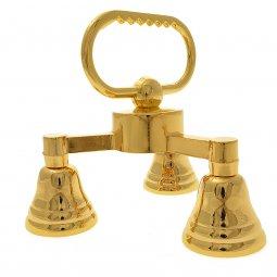 Copertina di 'Gruppo di tre campanelli in ottone dorato - dimensioni 12,5x13 cm'