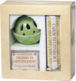 Copertina di 'Confezione brucia incenso verde alla fragranza di nardo con kit di carboni liturgici'