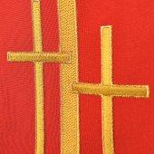Immagine di 'Stola rossa con croci latine dorate ricamate'