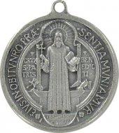 Medaglia San Benedetto da Norcia in metallo argentato ossidato - diametro/altezza 1,7 cm