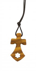 Copertina di 'Croce carmelitana in legno ulivo con cordoncino - 3,5 cm'