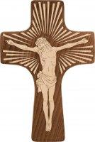 Croce in legno grezzo con incisioni luminescenti - dimensioni 30x20 cm