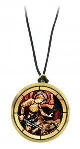 Copertina di 'Ciondolo ulivo tondo con immagine serigrafata San Michele Arcangelo'