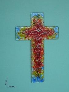 Copertina di 'Croce con vetri colorati - altezza 21 cm'