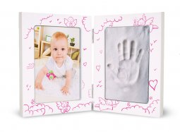 Copertina di 'Portafoto con kit impronte rosa - altezza 16,5 cm'