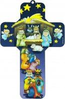 Crocifisso per bambini raffigurante il presepe - 12 x 18 cm (Soggetto 1)