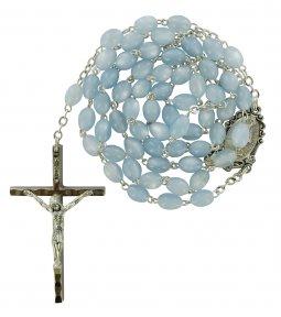 Copertina di 'Rosario imitazione madreperla ovale mm 4 legatura ottone argentato -  azzurro'