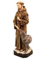 """Immagine di 'Statua in resina colorata dipinta a mano """"San Francesco con il lupo"""" - altezza 30 cm'"""