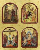 Immagine di 'Icona scene della vita di Gesù, produzione greca in legno - 22 x 18 cm'