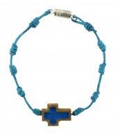 Braccialetto decina con croce ulivo smaltata-azzurro