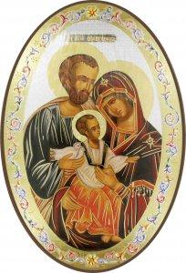 Copertina di 'Icona Sacra Famiglia, stampa cartacea su legno MDF ovale - 20 x 30 cm'