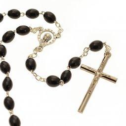 Copertina di 'Rosario in legno nero con croce in metallo'